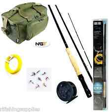 FLY FISHING KIT FLY ROD AND REEL, LINE FLIES + NGT FISHING CARRYALL BAG 537