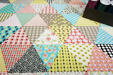 SOFT Upholstery 100% Cotton Heavy Fabric BUNTING PATCHWORK by HALF METRE #74