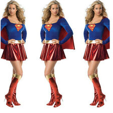 Women Superhero Uniform Dress Costume Halloween Outfit Cape Lady Supergirl New