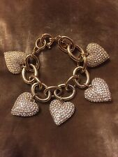 J Crew Gold Crystal Clear Pave Stones Large Hearts Bracelet Stunning!