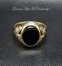 9ct Gold Ornate Oval Onyx Signet Ring Size S 1/2 4.2g