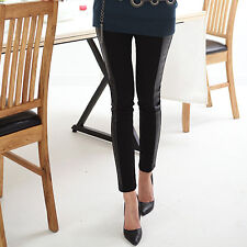 Elastic Woman Skinny Tights Fashion Leggings Cotton+Faux Leather Black One Size
