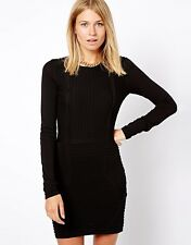 MANGO Ribbed Bodycon Dress  - Large - Black - Brand New