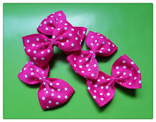 5 x Ribbon Bow Embellishments - Polka Dot - 40mm [Various Colours Available]