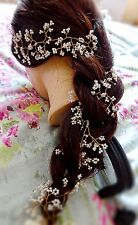 "Hair Vine Tiara crown baby's breath Gold toned wire 20"" UK gypsothila Plait"