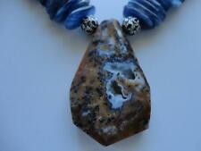 RARE PETRIFIED BLUE APATITE BROWN OPAL PENDANT KYANITE BEADS .925 NECKLACE