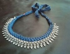 BEAUTIFUL SILVER PLATED BLUE THREAD WORK TRIBLE NECKLACE FOR GOSSIP GIRLS,NEW