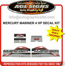 MERCURY MARINER  4 hp DECALS, 4.0 MERC OUTBOARD REPRODUCTION