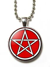 Magneclix magnetic pendant-White circle pentagram - Goth Pagan