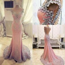 Crystal Pink Long Formal Evening Dress Mermaid Celebrity Pageant Party Prom Gown