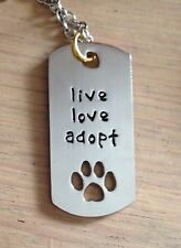 Mascota Perro Gato Animal Rescue Live Love adoptar Collar De Acero Inoxidable Colgante No2