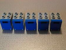 LEGO - 5 Grigio & Blue Container / Palo / caselle di posta elettronica 2x2x2 (4345 4346)