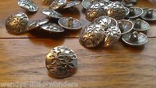 Job Lot 30 Tibetan Silver Round Shank Buttons 17mm Flowers More Available