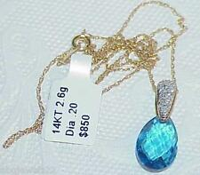 14k Blue Topaz Briolette Pave' Diamond Pendant Huge NEW w/Tag Retail $850 Lovely