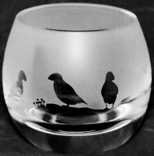 *PUFFIN GIFT* Boxed CRYSTAL GLASS TEA LIGHT CANDLE HOLDER