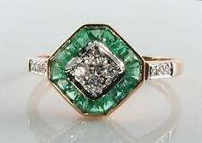DIVINE 9K 9CT ROSE GOLD COLOMBIAN EMERALD & DIAMOND ART DECO INS RING FREE RSIZE