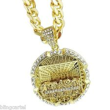 "The Last Supper Round Iced-Out Pendant 30"" Cuban Chain Gold Tone Hiphop Necklace"