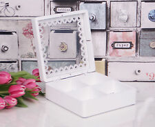 Shabby Chic White Tea Box Di Stoccaggio 4 scomparti retrò/vintage