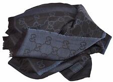NEW Gucci 282390 Large Black Blue Wool Silk GG Guccissima Logo Scarf Shawl