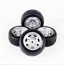Set  of 4 Flat Rubber Tires&Wheel Rim For HPI HSP RC 1:10 On Road Car