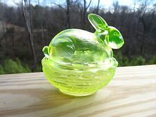 MOSSER GLASS VASELINE OPALESCENT Bunny Rabbit on a NEST Covered Box GLOWS