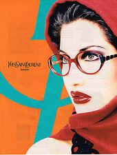 PUBLICITE ADVERTISING 025  1996  YVES SAINT LAURENT lunettes LAETITIA CASTA