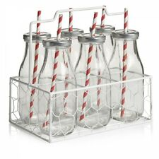 Milk Glass Bottle Set of 6 With Gift Carry Crate and Reusable Drinking Straws