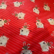Cute Kittens Red Fabric Cotton, per Fat Quarter