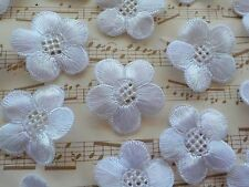 """50! Beautiful White Embroidery Lace Daisy Flowers - Silk Flower Applique 25mm/1"""""""