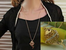 fashion ocean red eye yellow gold fish clear crystal pendant long necklace F31