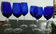 Nice Set of 8 Hand Blown Water/Wine Goblets Cobalt Blue Optic Bowls w/Clear Stem