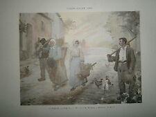 Gravure 19° 1899 couleur Peinture G. Guerin: En Haute Marne Paysan cour de ferme