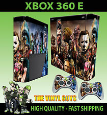 XBOX 360 E SUPER SLIM HORROR MONTAGE EVIL VILLAINS  STICKER SKIN & 2 PAD SKIN