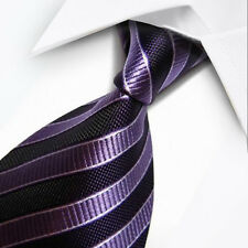 UK0035 Purple Striped New Silk Classic JACQUARD Woven Men's Tie Necktie