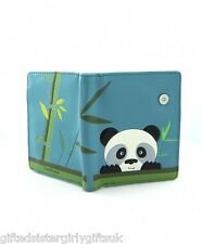 Small Ladies Fashion Wallet Purse - Peeking Panda Design Teal Green - Shagwear