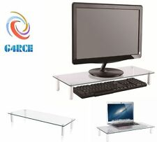 G4RCE verre clair ordinateur imac moniteur écran tv display riser shelf support uk