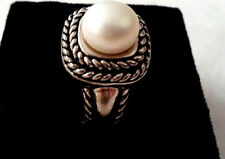 CLASSIC Mabe Pearl Sterling Silver Estate COCKTAIL RING  sz7.25 designer JC