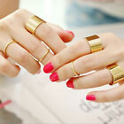 1 Set of 6pcs Punk Personality Gold Stack Plain Above Knuckle Band Midi Rings