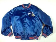 WOW Vintage 80s New York Giants Satin Jacket Blue Locker Line - Made in USA - XL