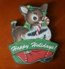 New VTG STYLE RUDOLPH REINDEER HAPPY HOLIDAYS SIGN PLAQUE Candy Cane WELCOME