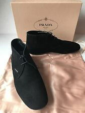 PRADA ITALY Black Suede LaceUp Desert Casual Bootie Flat Rubber Sole NWB$620~8.5