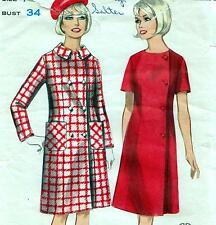 "Vintage 60s Mod COAT AND SIDE WRAP DRESS Sewing Pattern Bust 34"" Sz 10 RETRO"