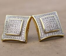 Men's Solid 14k Gold Large Square Lab Diamond Screw Back Earrings Size 15mm