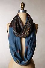 NWT Anthropologie by Shingora, Paisley Foil Scarf, Infinity Loop,  RARE