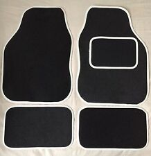 CAR FLOOR MATS- BLACK WITH WHITE TRIM FOR MINI COOPER CLUBMAN ONE FIRST
