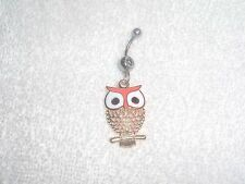 Peach Color Owl Charm Belly Button Navel Ring Body Jewelry Piercing 14g