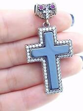925 STERLING SILVER CROSS TURKISH HANDMADE JEWELRY HEMATITE TOPAZ PENDANT P2059