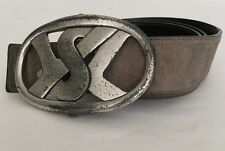 """YVES ST LAURENT Stone Distressed Suede Chunky YSL Logo Buckle Belt 85cm 34"""""""