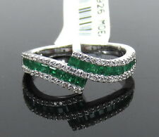 Fine 0.50ct Colombian Emerald & 0.22ct Diamond 14K White Gold Ring