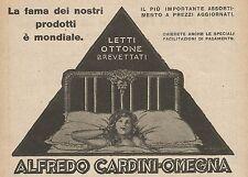 Z0507 Letti in ottone Alfredo Cardini - Omegna - Pubblicità del 1927 - Advertis.